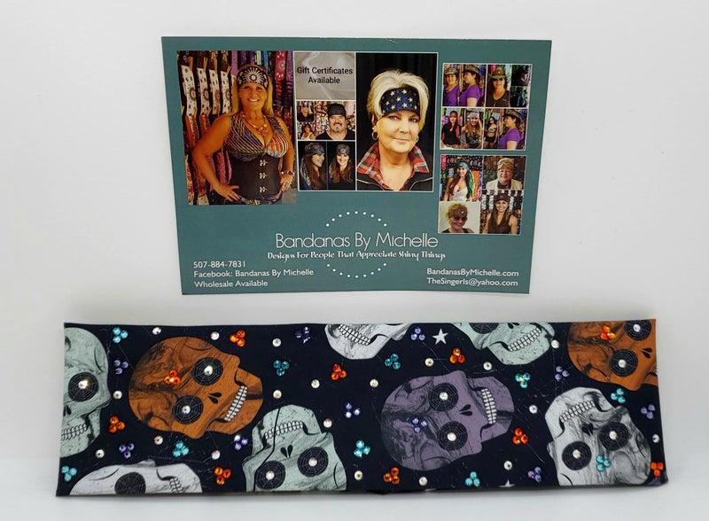 Narrow Halloween Skulls with, Lavender, Turquoise, Orange and Aurora Borealis Swarovski Crystals (Sku1715)
