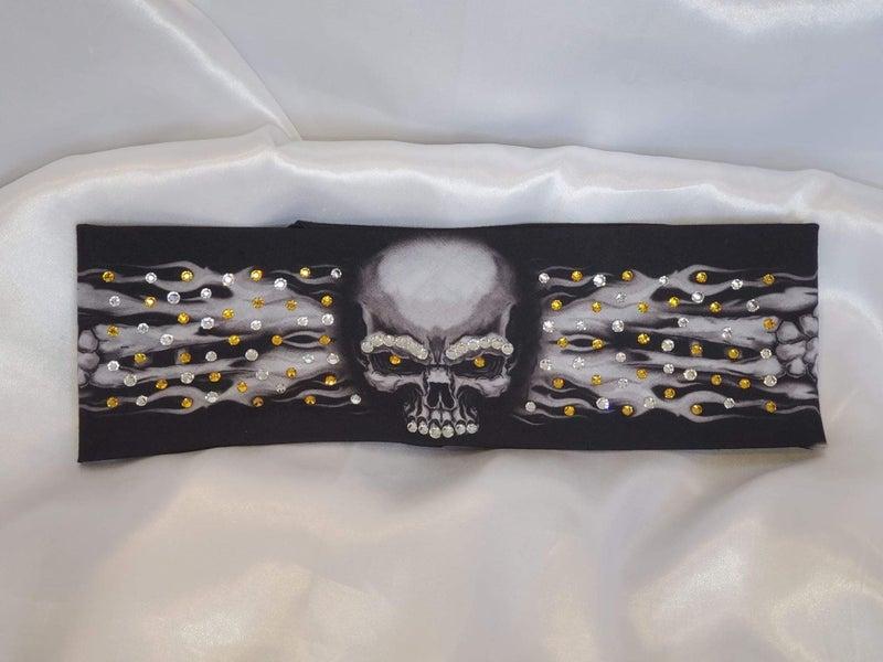 Flame Skull Bandana with Yellow and Diamond Clear Swavorski Crystals (Sku1525)