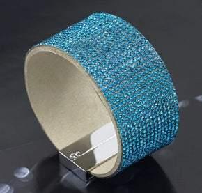 Elegant Leather Austrian Turquoise Crystal Wrap Bracelet (sku8005)