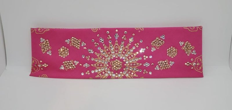 LeeAnnette Gold Paisley on Pink with Rose Gold and Diamond Clear Crystals (Sku4372)