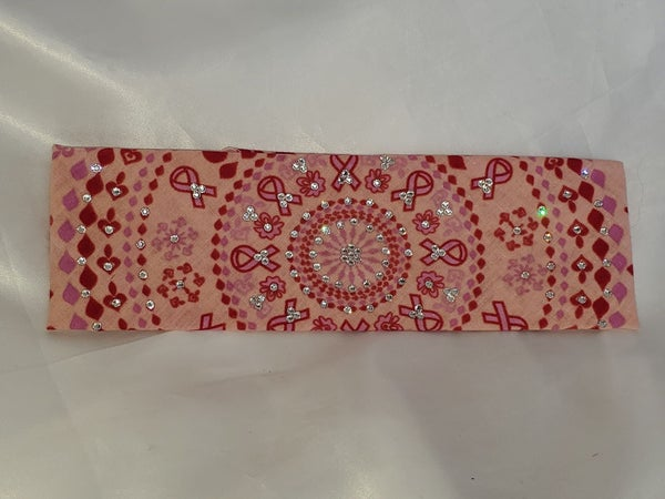 Pink and Red Breast Cancer Bandana with Diamond Clear Swarovski Crystals