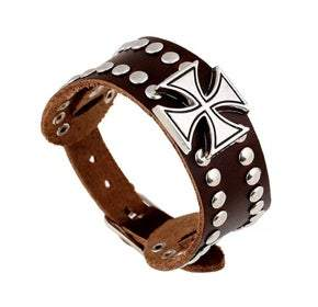 UNISEX Brown Leather Small Maltese Cross Adjustable Bracelet (sku8319)