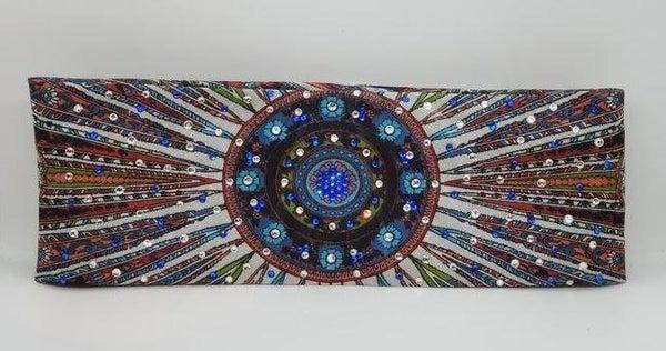 Long Black Feather Multi Colored Swarovski Crystal Scarf with Blue Mandala Crystal Center Design (Sku3027)