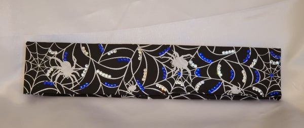 Narrow Spider and Webs with Blue and Diamond Clear Swarovski Crystals