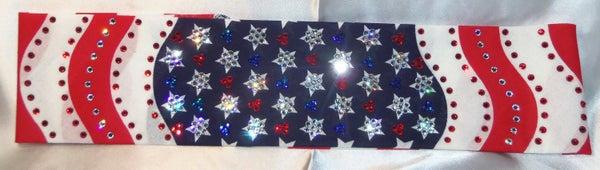 LeeAnnette American Flag Bandana Over 300 Swarovski crystals (Sku4014)