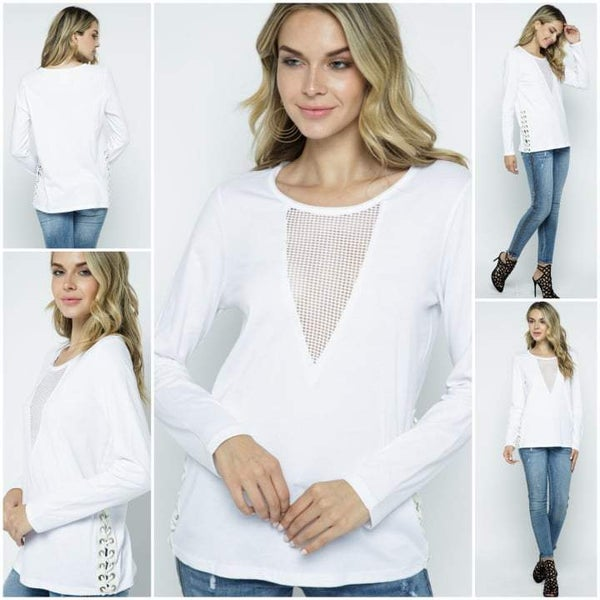 White Long Sleeve Laced-up on the side