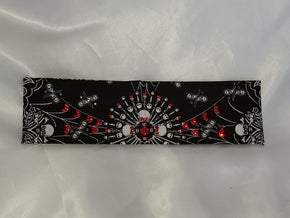 Spider Web Skull Bandana with Red and Black Swarovski Crystals (Sku1657)