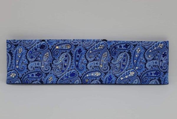 Custom Blue Paisley with Blue and Diamond Clear Swarovski Crystals (Sku1807)