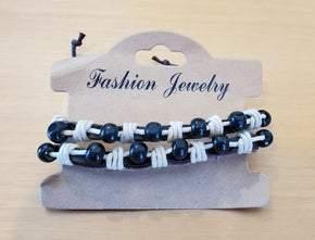 Unisex Leather Bracelet with Black Beads (sku8009)