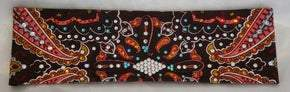 Black and Coral Indian with Orange, Turquoise and Diamond Clear Swarovski Crystals (Sku1409)