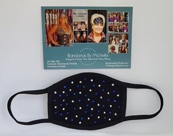 Black Face Mask with Blue and Diamond Clear Swarovski Crystals *Final Sale* (sku5925)