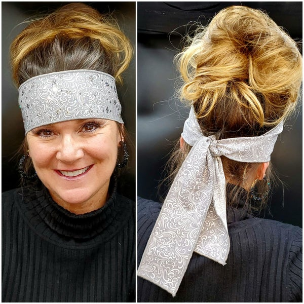 Grey Scrolls Headband Strip with Diamond Clear Swarovski Crystals (Sku5516)