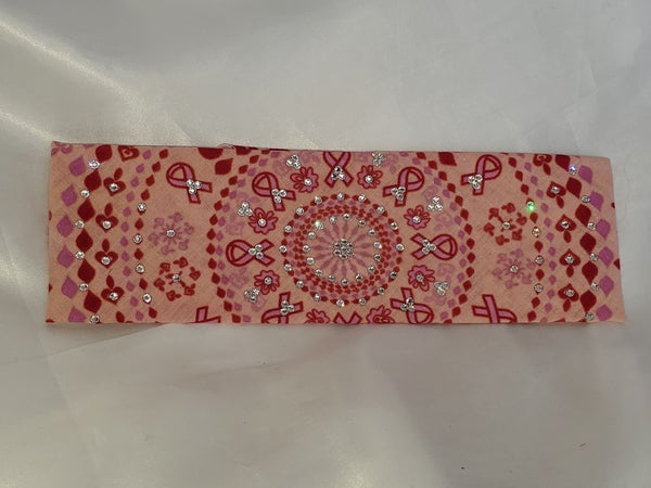 Pink and Red Breast Cancer Bandana with Diamond Clear Swarovski Crystals (Sku1421)