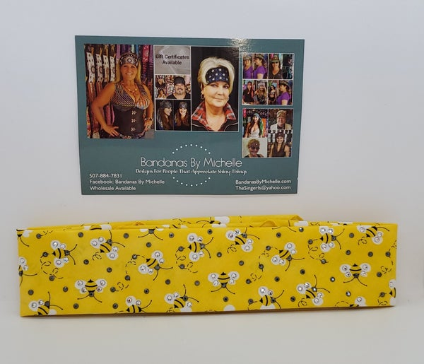 Narrow Yellow Bumble Bee Custom Bandana (Sku1838)