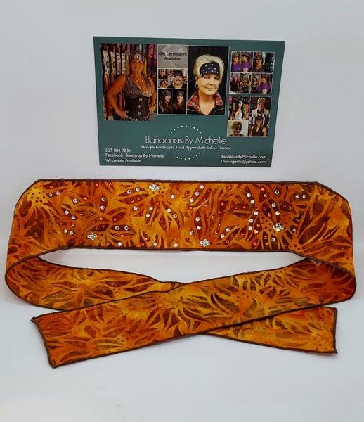 Batik Tuscan Sunflower Headband Strip with Orange and Diamond Clear Swarovski Crystals (Sku5530)