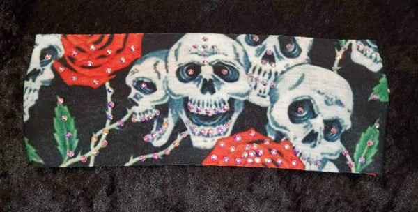 Stretchy Headband Skulls and Roses with Aurora Borealis (Sku5008)