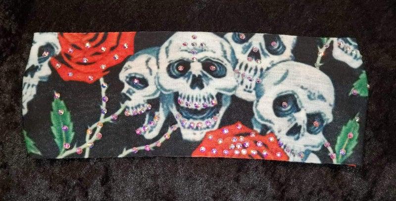 Stretchy Headband Skulls and Roses with Aurora Borealis (Sku5008)