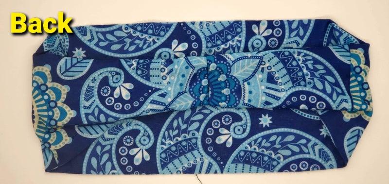 Stretchy Headband Blue Flower with Clear crystals (sku5042)