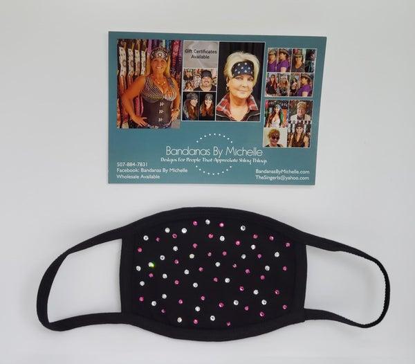 Black Face Mask with Fuchsia and Diamond Clear Swarovski Crystals *Final Sale* (Sku5919)