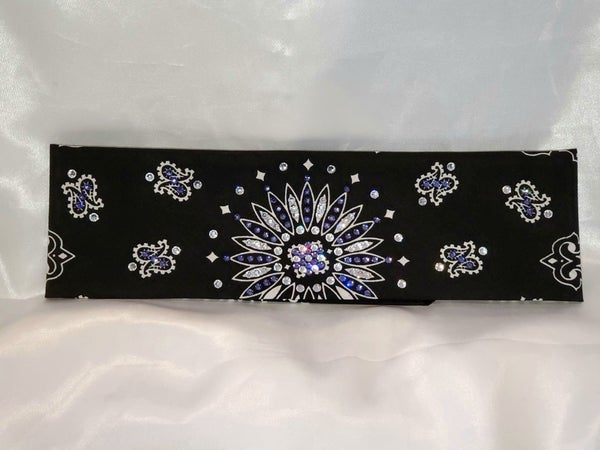 Black Paisley With Light Purple and Diamond Clear Swarovski Crystals (Sku1939)