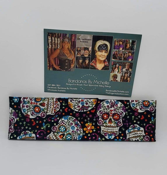 LeeAnnette Black Sugar Skull Bandana with Multiple Colors of Swarovski Crystals (Sku4021)