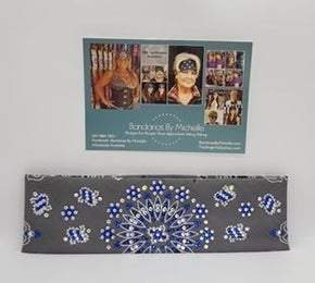 LeeAnnette Charcoal Paisley with Blue and Diamond Clear Swarovski Crystals (Sku4510)