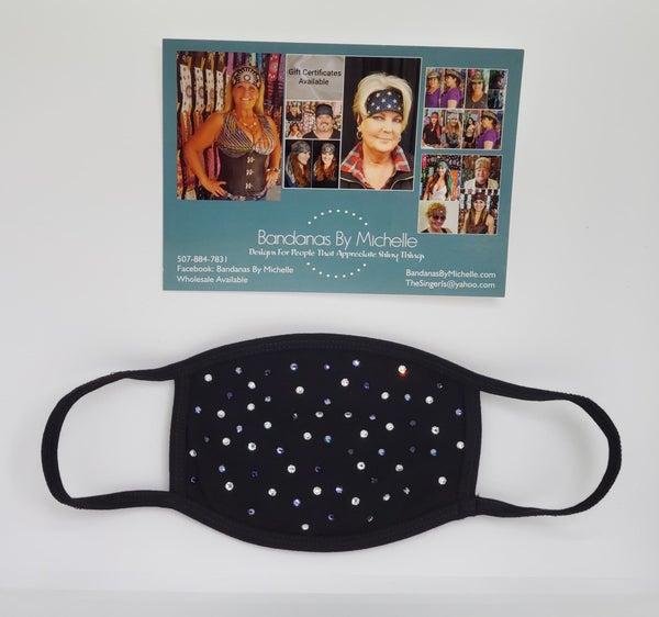 Black Face Mask with Light Purple, Dark Purple and Diamond Clear Swarovski Crystals *Final Sale* (Sku5921)