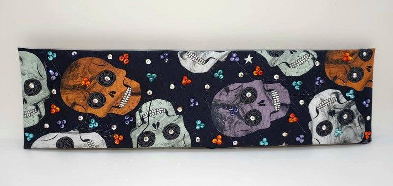 Halloween Skulls with, Lavender, Turquoise, Orange and Aurora Borealis Swarovski Crystals (Sku1714)
