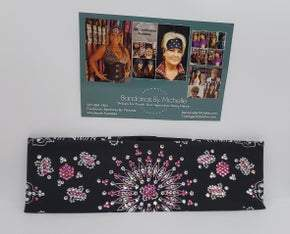 LeeAnnette Black Paisley with Pink and Diamond Clear Crystals (Sku4086)