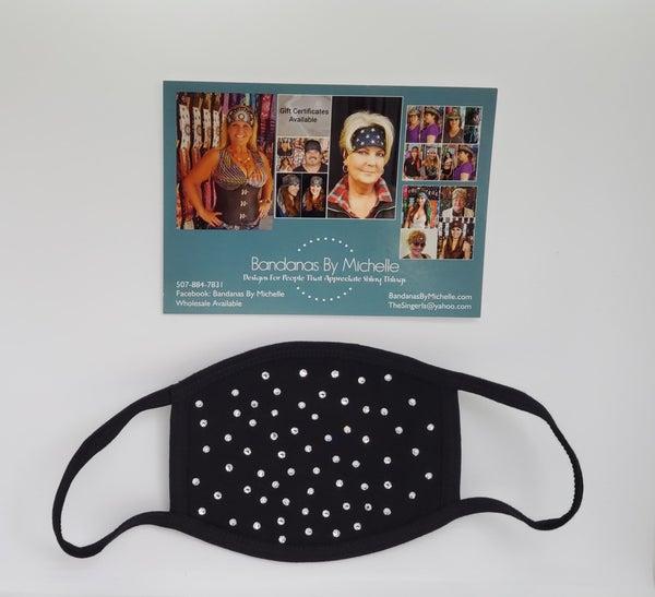 Black Face Mask with Diamond Clear Swarovski Crystals *Final Sale* (Sku5918)