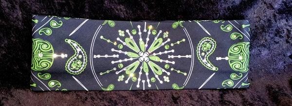 Green Pinstripe Bandana with Swarovski Crystals (Sku1602)