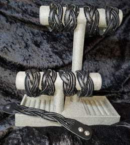 Black Leather Rhinestone Braided Bracelet (Sku8000)