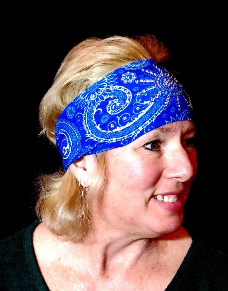 Stretchy Blue Sun Spiral Headband with Clear Crystals (sku5039)