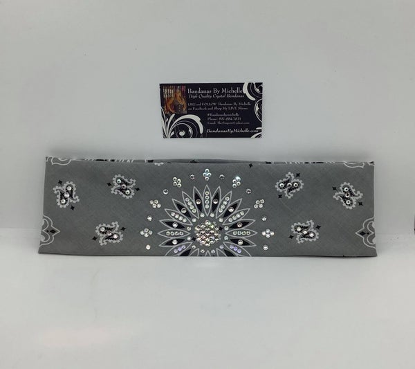 Silver Paisley with Aurora Borealis and Diamond Clear Swarovski Crystals (Sku2503)