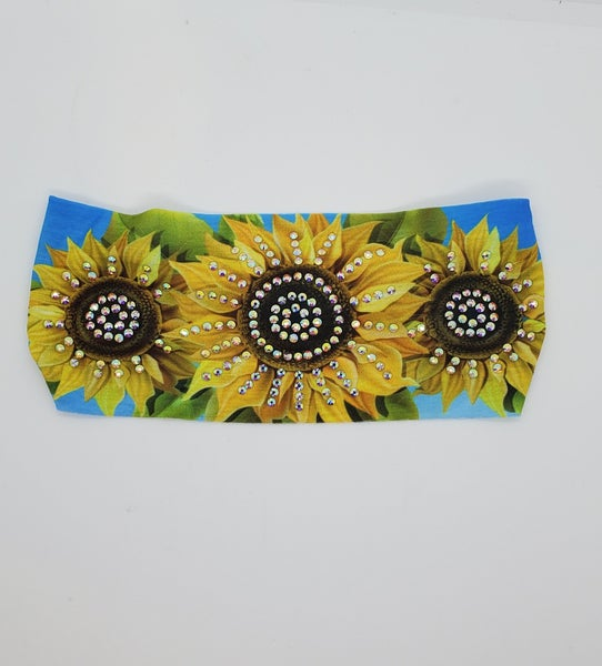 Stretchy Headband Sunflower Design with Aurora Borealis Crystals (Sku5134)