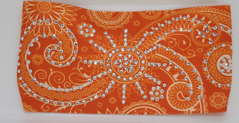 Stretchy Orange Sun Spiral Headband with Clear Crystals (Sku5027)