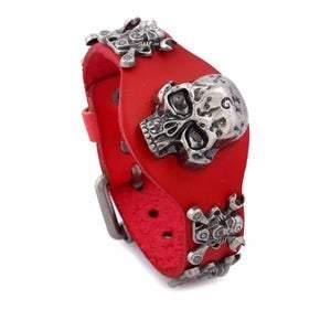 Red Leather Adjustable Skull Motor Wrench UNISEX Bracelet (sku8325)