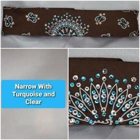 Narrow Brown Paisley with Turquoise and Diamond Clear Swarovski Crystals (Sku2129)