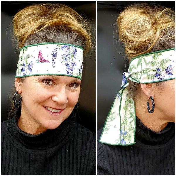 Hummingbirds Headband Strip with Multi-Colors of Swarovski Crystals (Sku5515)