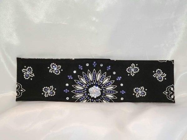 Black Paisley with Light Purple and Diamond Clear Swarovski Crystals (Sku1945)