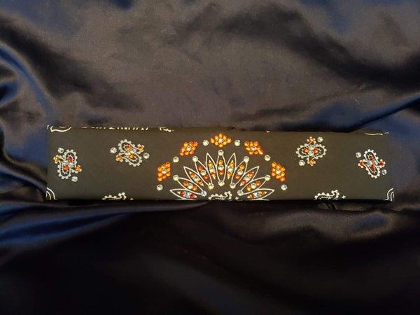 Narrow Black Paisley with Orange and Diamond Clear Swarovski Crystals (Sku2069)
