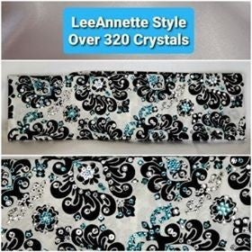LeeAnnette White and Black with Turquoise and Diamond Clear Swarovski Crystals (Sku4108)