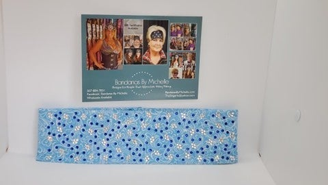 LeeAnnette Blue Scroll with Blue and Diamond Clear Swarovski Crystals Scatter pattern (Sku4449)