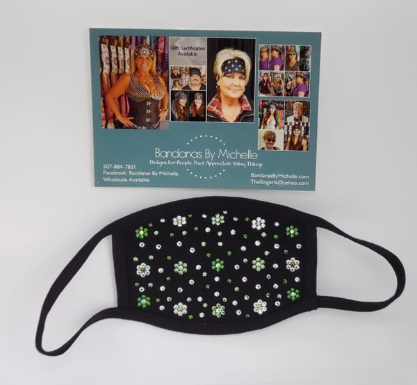 EXTRA BLING Face Mask with Green and Clear Swarovski Crystals (sku5935) *Final Sale*