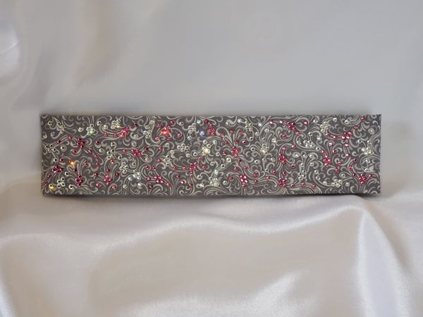 LeeAnnette Gray Scroll with Pink Rose and Diamond Clear Swarovski Crystals (Sku4422)