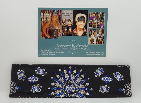 LeeAnnette Black Paisley with Blue and Diamond Clear Swarovski Crystals (Sku4467)