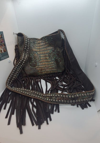 Raviani Purse Genuine Leather Brown and Turquoise Embossed Alligator and Flowers design