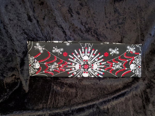 Spiderweb Skull LeeAnnette Bandana With Red and Clear Swarovski Crystals (Sku4024)