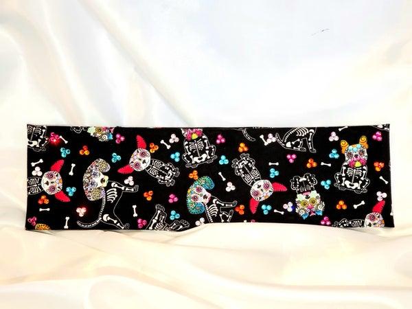 Sugar Skull Dog Bandana with Multi-Colored Swarovski Crystals (Sku9990)
