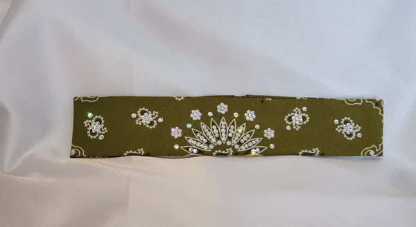 Narrow Olive Green Paisley With Diamond Clear Swarovski Crystals